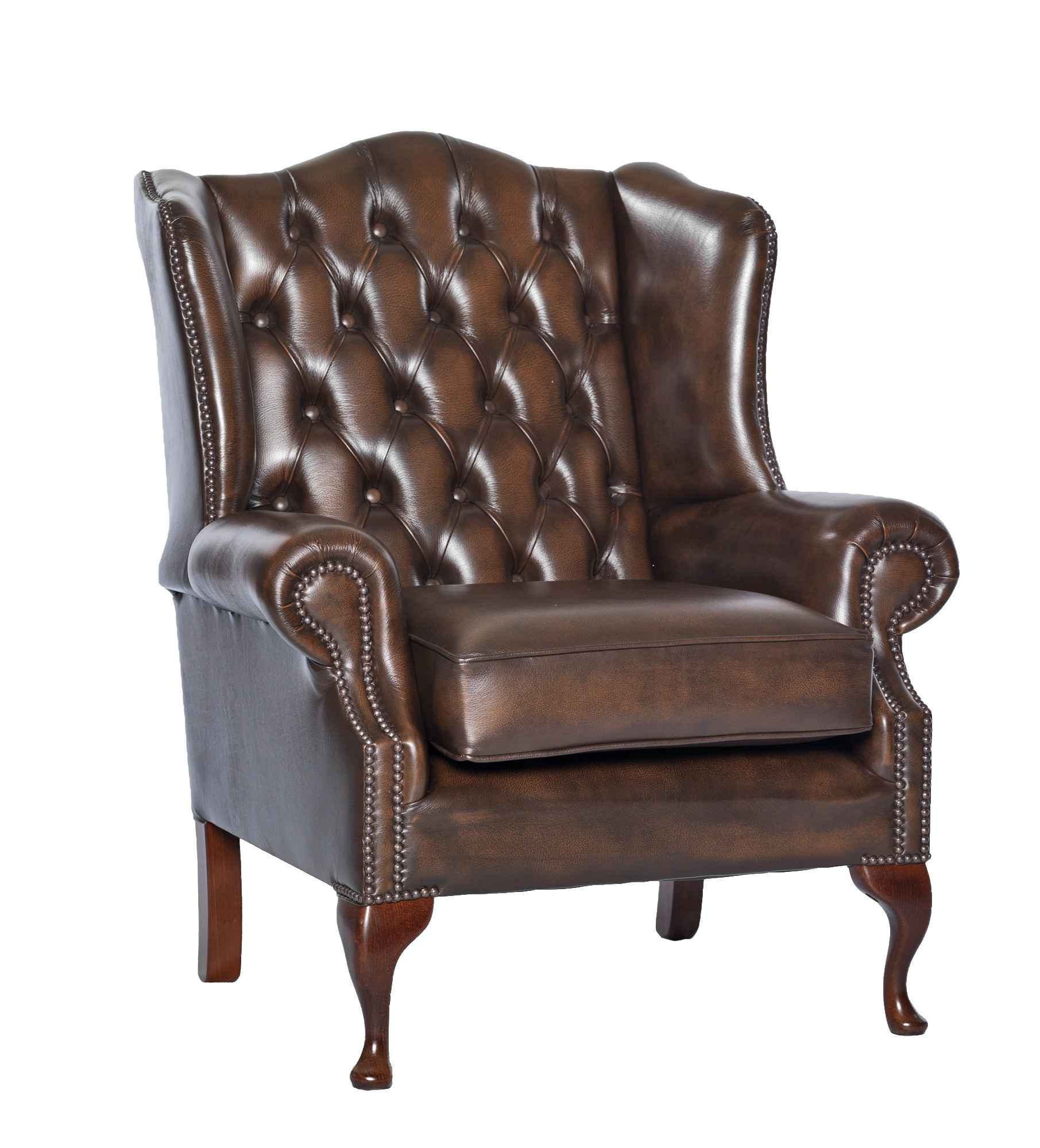 Queen Anne Leather Chesterfield Sofa Or Chair Leather Sofas And Intended For Chesterfield Sofa And Chairs (Image 10 of 15)