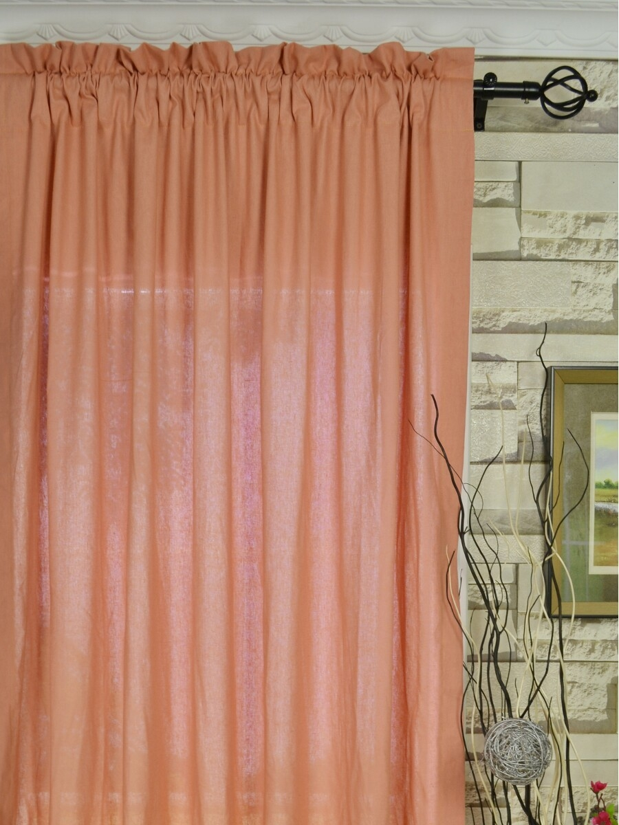 Qyk246see Eos Linen Red Pink Solid Rod Pocket Sheer Curtains Regarding Peach Colored Curtains (Image 20 of 25)