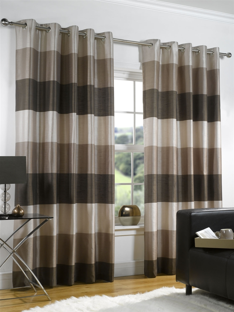 Ready Made Curtains Rio Chocolate Brown In Faux Silk Inside Brown Eyelet Curtains (Image 19 of 25)