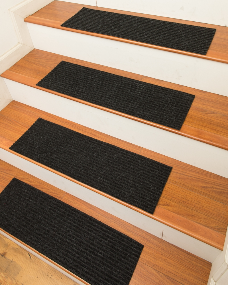 Ready To Ship Halton Charcoal Carpet Stair Treadsnatural Area Rugs With Regard To Peel And Stick Carpet Stair Treads (Image 15 of 15)
