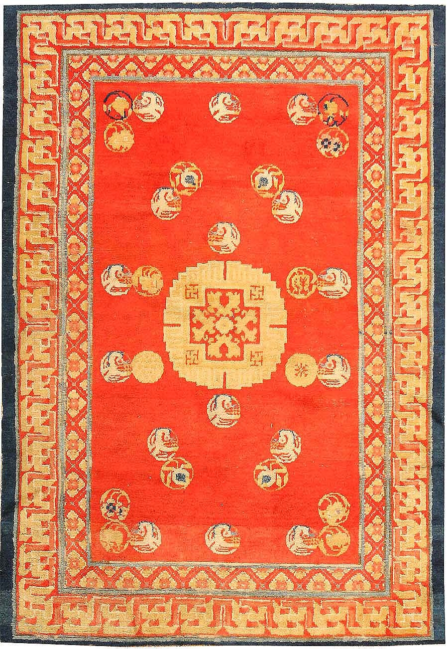 Red Color Background Ningxhia Antique Chinese Rug 43024 Nazmiyal Throughout Chinese Rugs (Image 15 of 15)