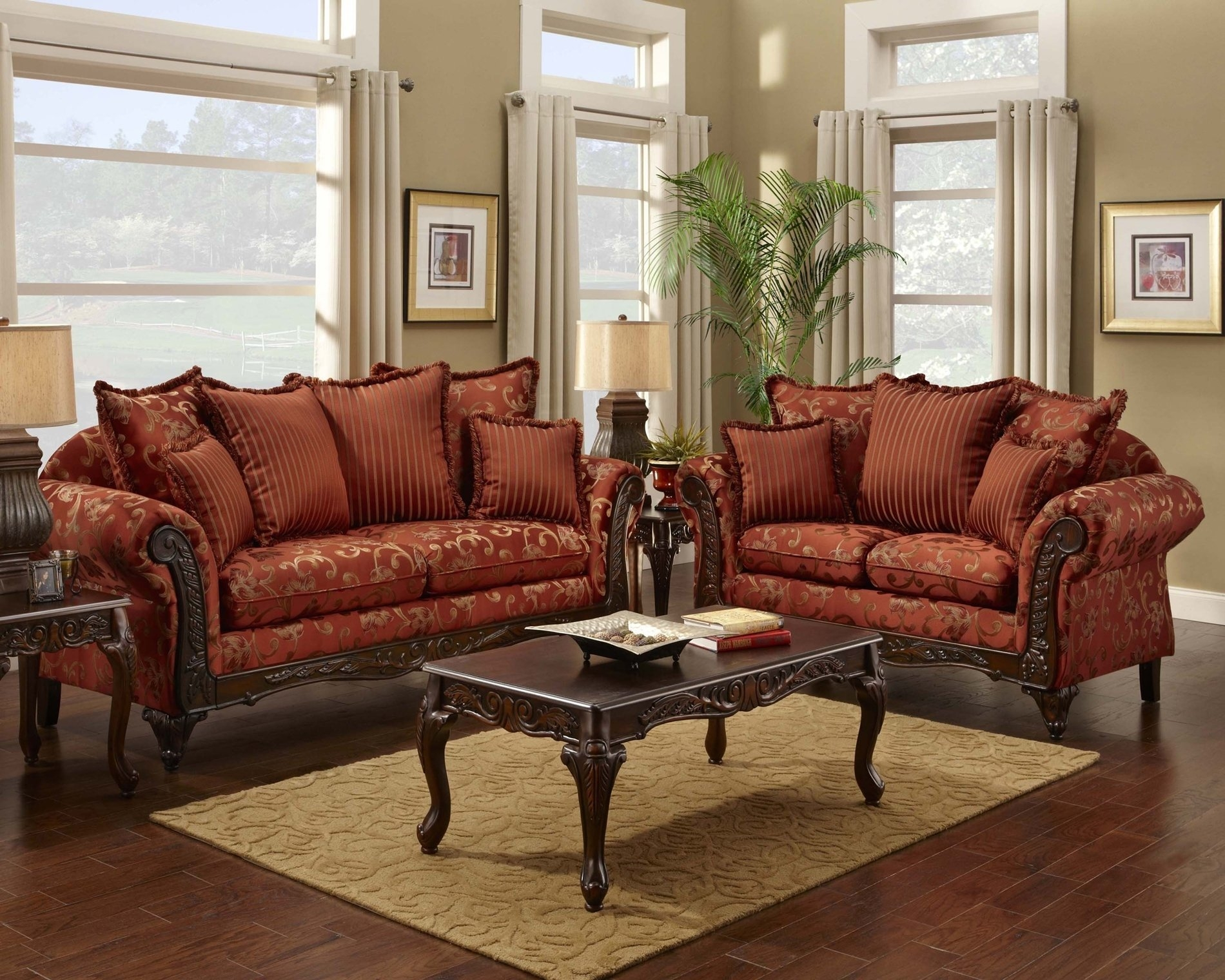 Red Floral Print Sofa And Loveseat Traditional Sofa Set For The With Regard To Floral Sofas And Chairs (Image 13 of 15)