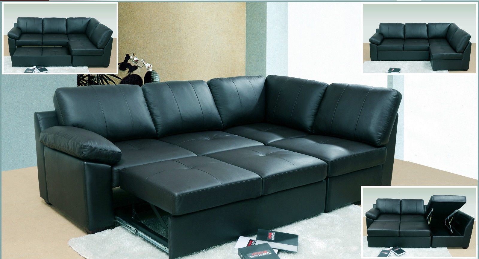 Red Leather Sofa Bed With Storage Sofa Menzilperde Pertaining To Leather Corner Sofa Bed (Image 9 of 15)