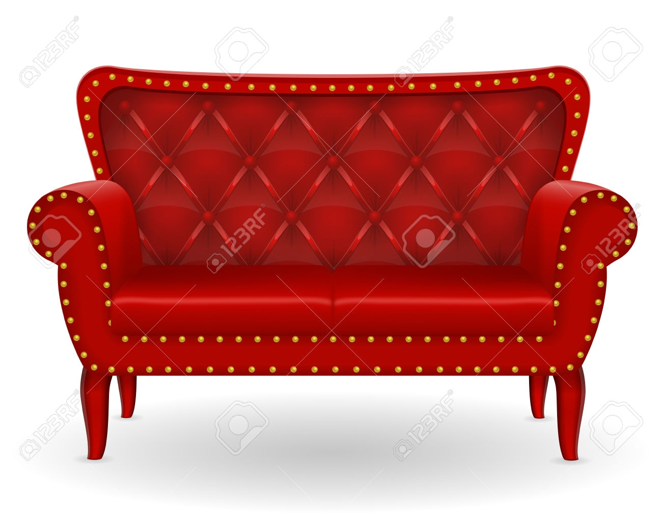 Red Sofa Furniture Vector Illustration Isolated On White With Regard To Red Sofa Chairs (Image 11 of 15)
