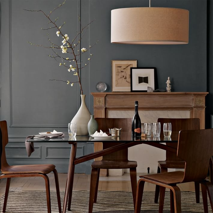 Remarkable Best West Elm Drum Lights With Regard To Short Drum Pendant Natural Linen West Elm (Image 21 of 25)
