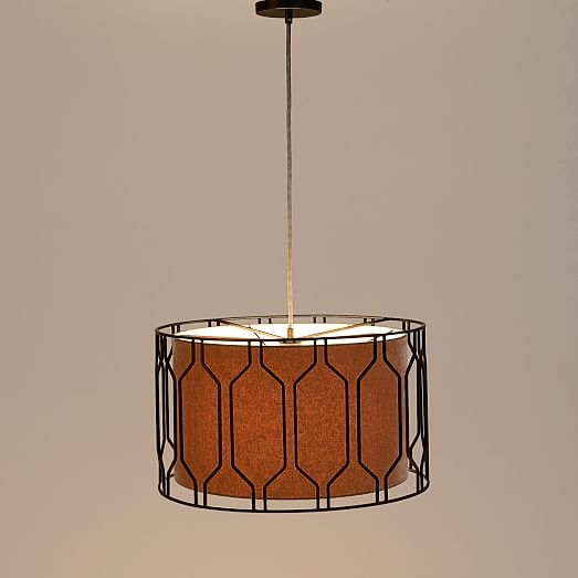 Remarkable Best West Elm Drum Pendants Within Metal Honeycomb Drum Pendant West Elm (Image 20 of 25)