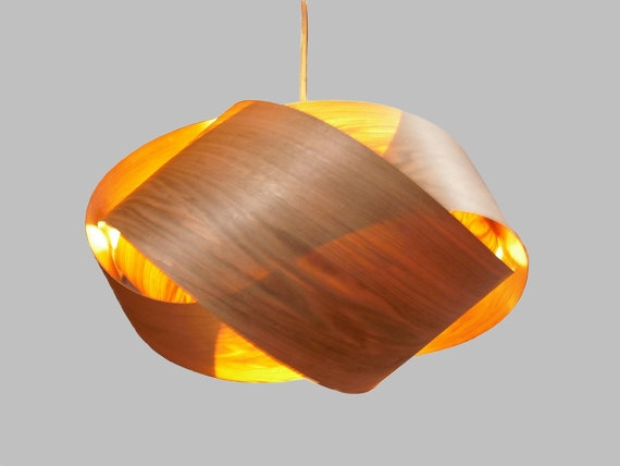 Remarkable Best Wood Veneer Light Fixtures Within Granny Knot Wood Veneer Pendant Lamp Butternut (View 2 of 25)
