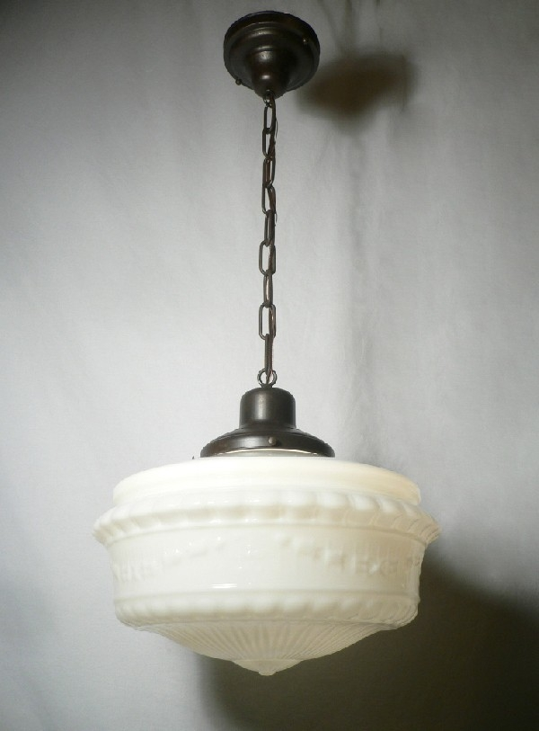 Remarkable Brand New Milk Glass Pendant Light Fixtures With Regard To Beautiful Antique Pendant Light Fixture With Original Milk Glass (Image 20 of 25)