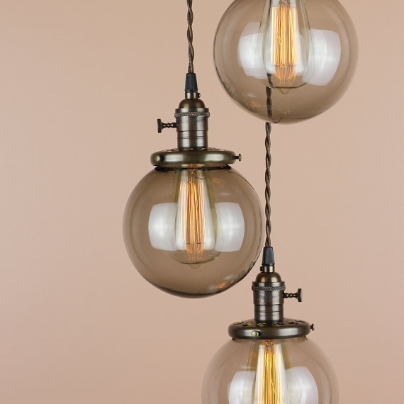 Remarkable Common Wire And Glass Pendant Lights With Chandelier Lighting Pendant Lights Grey Smoke Glass Globes (Image 19 of 25)