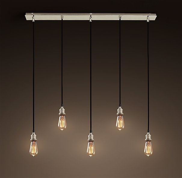 Remarkable Deluxe Bare Bulb Filament Pendants Polished Nickel With Regard To 20th C Factory Filament Bare Bulb Rectangular 5 Cord Pendant (View 2 of 25)