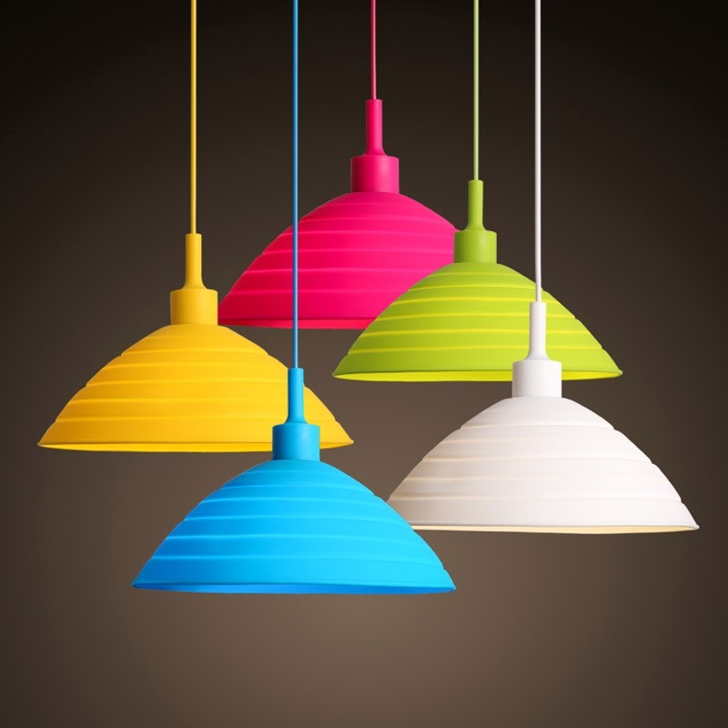 Remarkable Deluxe Multi Coloured Pendant Lights Inside Modern Multicolour Silicone Wire Hanging Pendant Light For Kids (View 13 of 25)