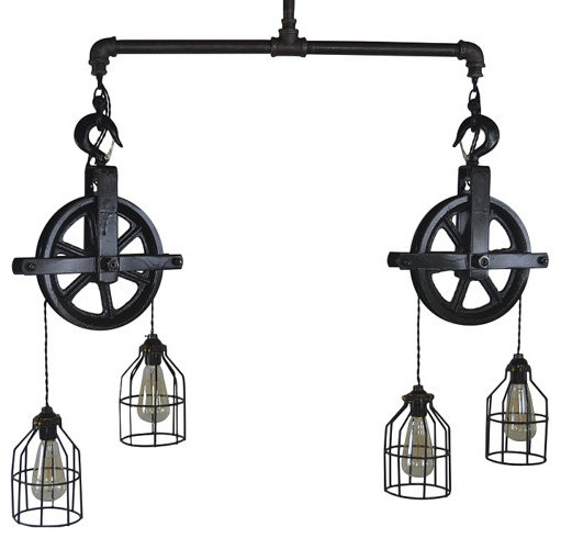 Remarkable Elite Double Pulley Pendant Lights In Double Barn Pulley Ceiling Light Industrial Pendant Lighting (Image 16 of 25)