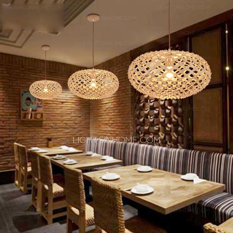 Remarkable Elite Restaurant Pendant Lighting Inside Texture Oval Shaped Wooden Japanese Pendant Lights For Restaurant (Image 21 of 25)