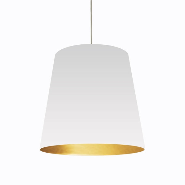 Remarkable Famous Oversized Drum Pendant Lights With Dainolite 1 Light Oversized Drum Pendant With White On Gold Shade (Image 21 of 25)