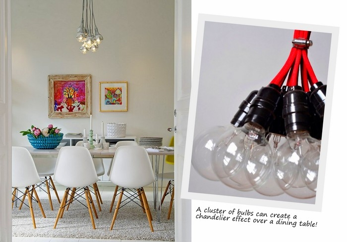 Remarkable Fashionable Bare Bulb Hanging Pendant Lights Throughout Exposed Bulb Lighting In Interiors Design Lovers Blog (View 21 of 25)
