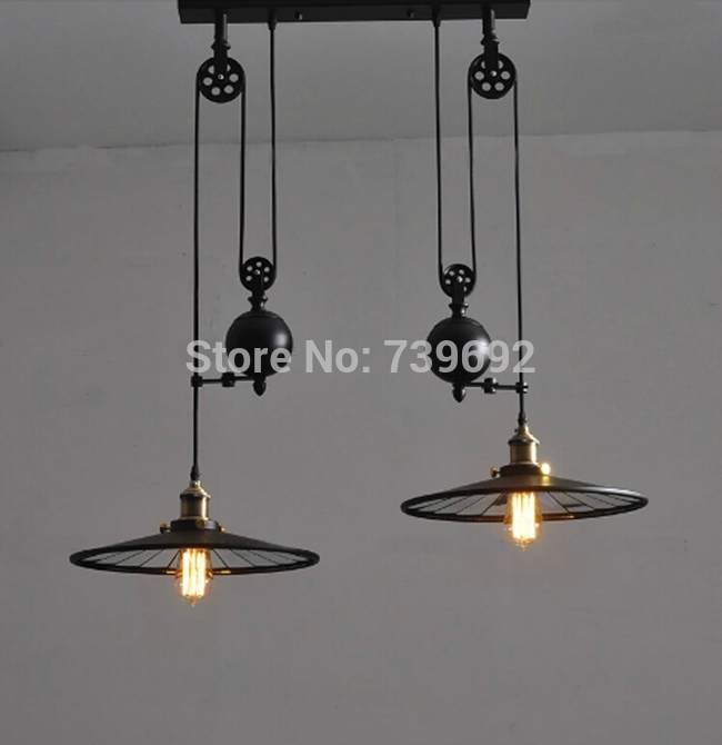 Remarkable Fashionable Double Pulley Pendant Lights With Regard To 2014 New Arrival Rh Loft Vintage Pulley Lift Double Slider Mirror (Image 17 of 25)