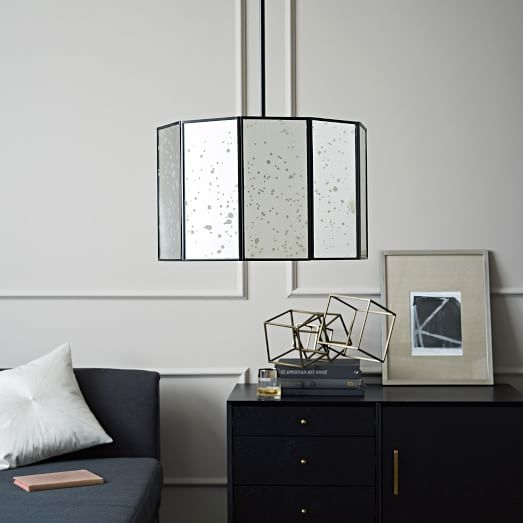 Remarkable Favorite West Elm Drum Lights With Foxed Mirror Drum Pendant West Elm (Image 22 of 25)