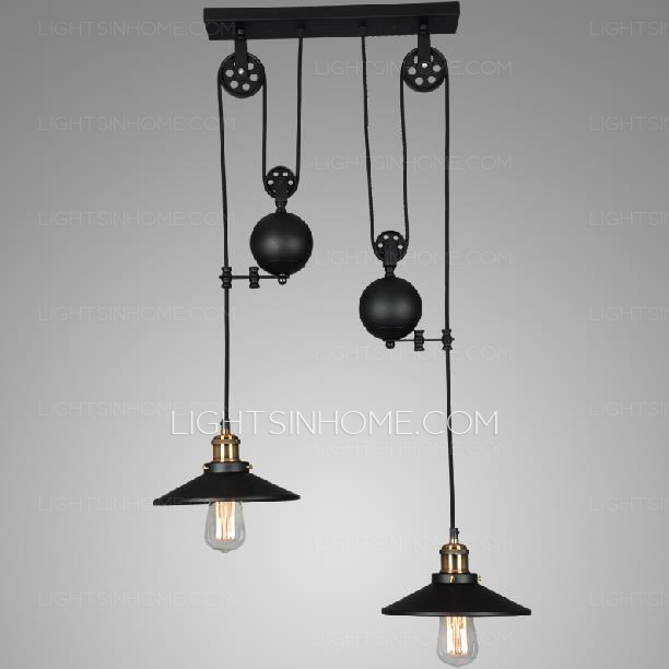 Remarkable High Quality Adjustable Pulley Pendant Lights Pertaining To 2 Light Designer Pulley Shaped Industrial Pendant Lights (Image 20 of 25)
