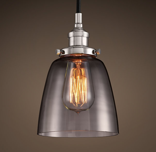 Remarkable High Quality Bare Bulb Filament Pendants Polished Nickel Pertaining To 20th C Factory Filament Smoke Glass Cloche Pendant Polished (Image 20 of 25)