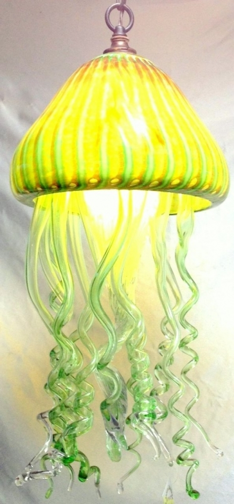 Remarkable High Quality Jellyfish Pendant Lights With Regard To Jellyfish Pendant Light Santa Barbara Art Glass (Image 22 of 25)