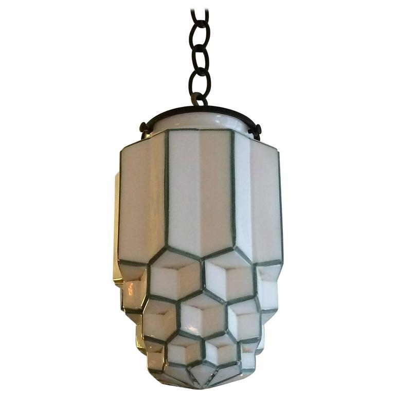 Remarkable High Quality Milk Glass Pendants Pertaining To Art Deco Tiered Milk Glass Skyscraper Pendant Light At 1stdibs (Image 16 of 25)