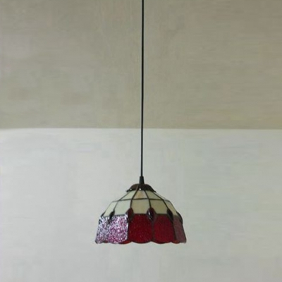 Remarkable Latest Stained Glass Mini Pendant Lights Pertaining To Red Stained Glass 8 Inch Tiffany One Light Kitchen Hanging Mini (View 5 of 25)