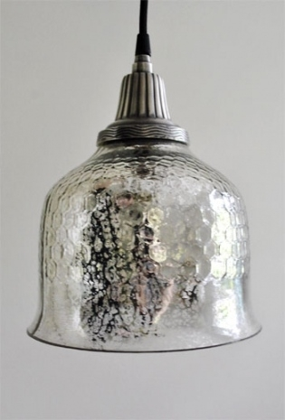 Remarkable Popular Mercury Glass Pendant Lights Pertaining To Ribbed Dome Mercury Glass Shade Pendant 3 Finishes Shades Of Light (View 12 of 25)