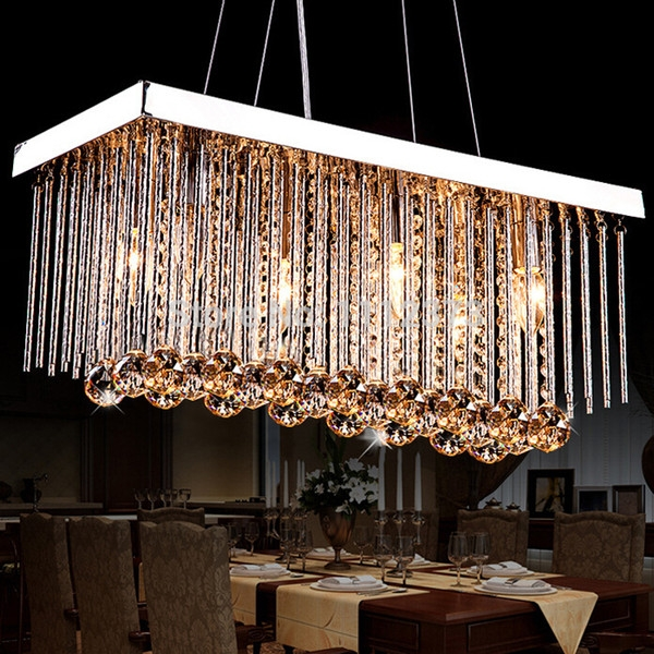 Remarkable Popular Restaurant Pendant Lights With Wholesale Modern K9 Crystal Chandelier Rectangular Design Crystal (Image 21 of 25)