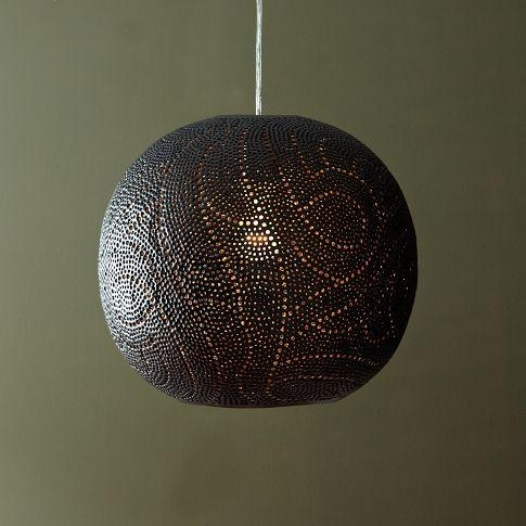 Remarkable Premium Moroccan Punched Metal Pendant Lights In Globe Pendant Swirl West Elm (View 5 of 25)