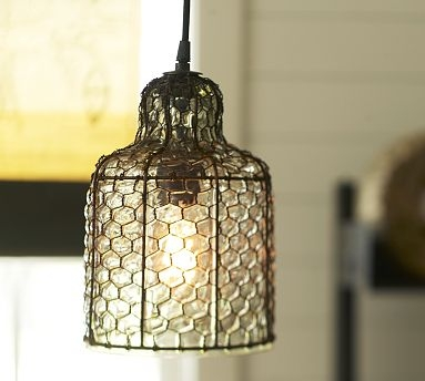 Remarkable Series Of Chicken Wire Pendant Lights Throughout We Could Keep This Tight To The Ceiling And Staggering At (Image 24 of 25)