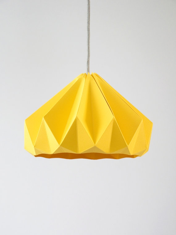 Remarkable Series Of Paper Pendant Lamps For Chestnut Origami Hanging Paper Lamp Shade Pendant Light Gold (Image 23 of 25)