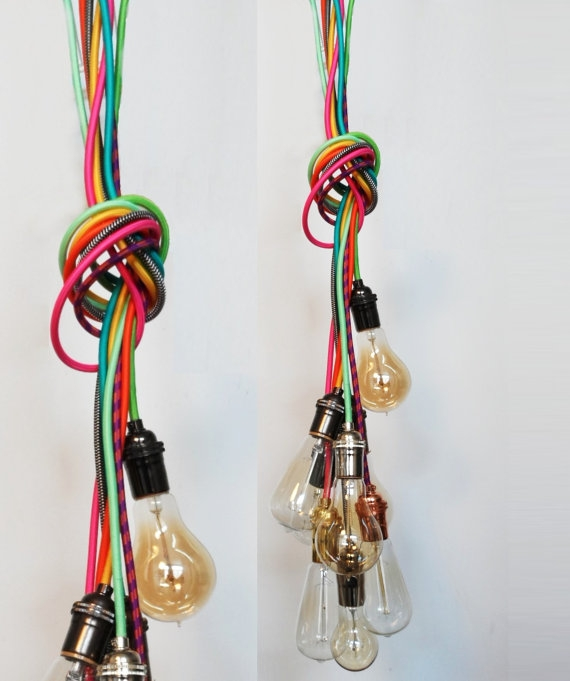Remarkable Top Bare Bulb Cluster Pendants With 7 Pendant Cluster Custom Any Colors Any Lengths Multi Pendant (Image 18 of 25)