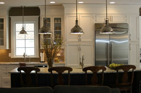 Remarkable Unique Benson Pendant Lights Intended For Inner Fire Pendant Lights In Blue Brighten Up This Kitchen Space (Image 18 of 25)
