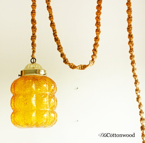 Remarkable Variety Of Macrame Pendant Lights Inside Vintage Hanging Light Hanging Lamp Swag Lamp Macrame (Image 20 of 25)