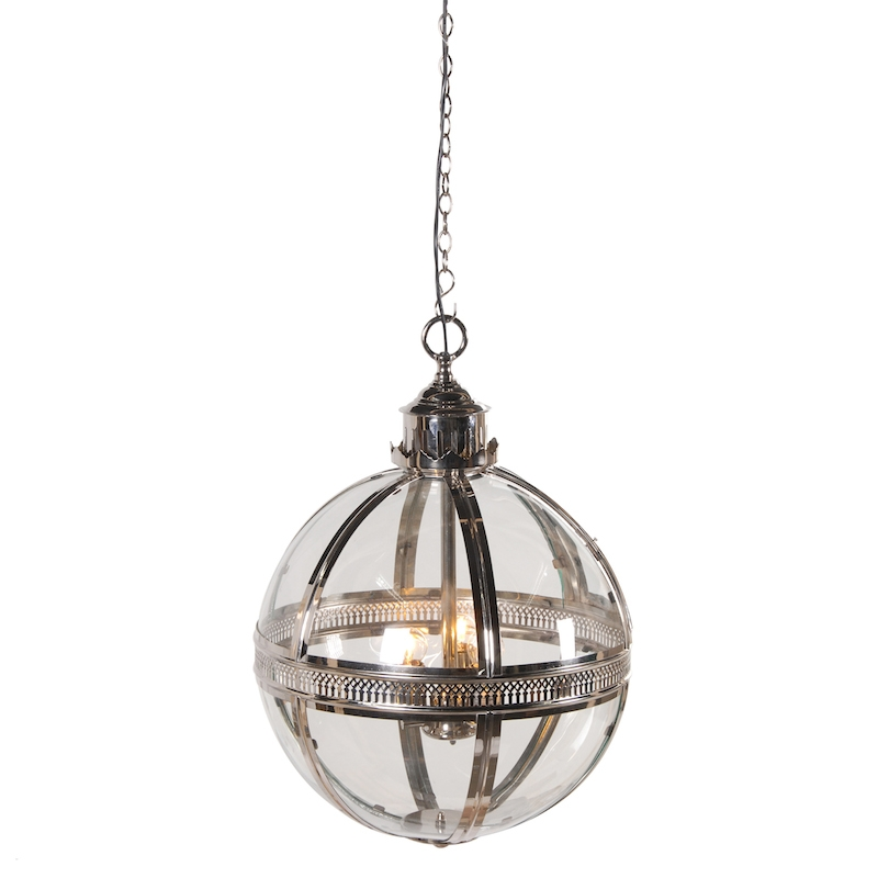 Remarkable Wellknown Glass Orb Pendant Lights Throughout Helena Round Silver Glass Ball Pendant (Image 20 of 25)