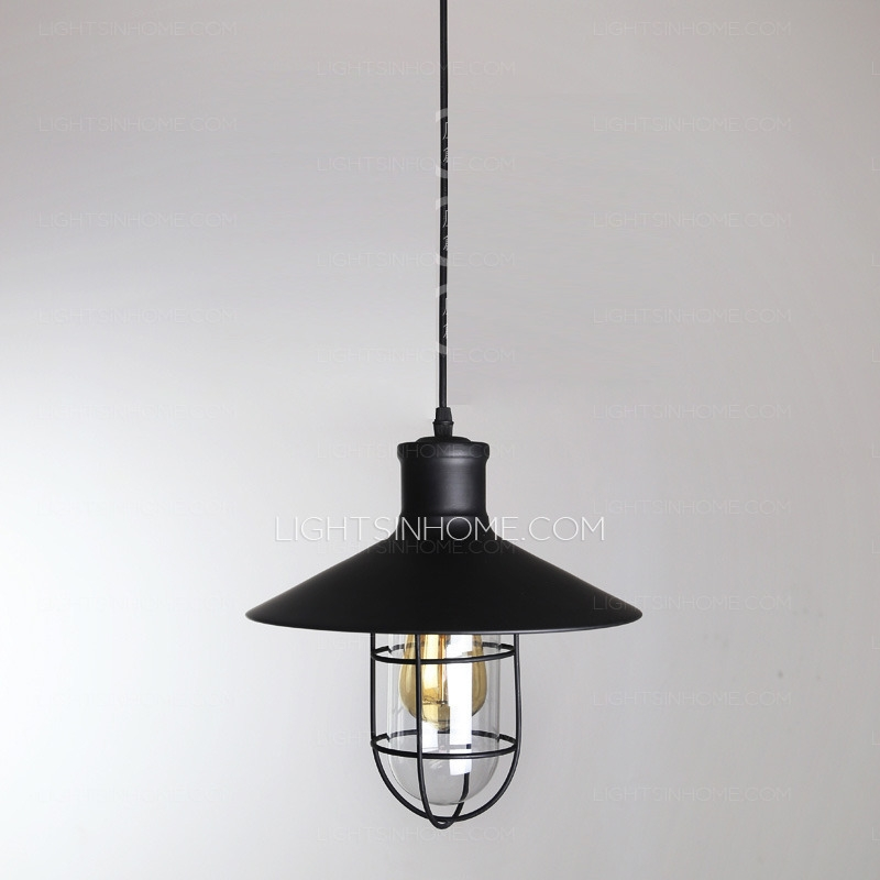 Remarkable Well Known Wrought Iron Pendant Lights Pertaining To Industrial Type One Light Wrought Iron Pendant Lights (Image 20 of 25)