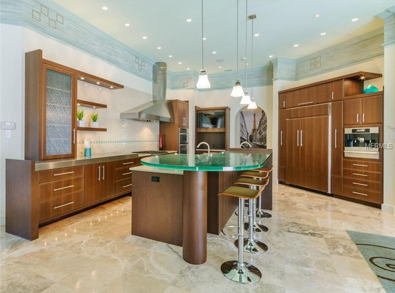 Remarkable Wellliked Hampton Bay Pendants Throughout Contemporary Kitchen With Stainless Steel Counters Stone Tile In (Image 22 of 25)