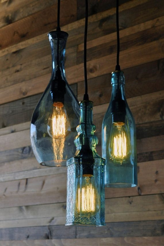 Remarkable Widely Used Glass Jug Light Fixtures Intended For Best 25 Bottle Lights Ideas On Pinterest Whiskey Bottle Crafts (Image 21 of 25)