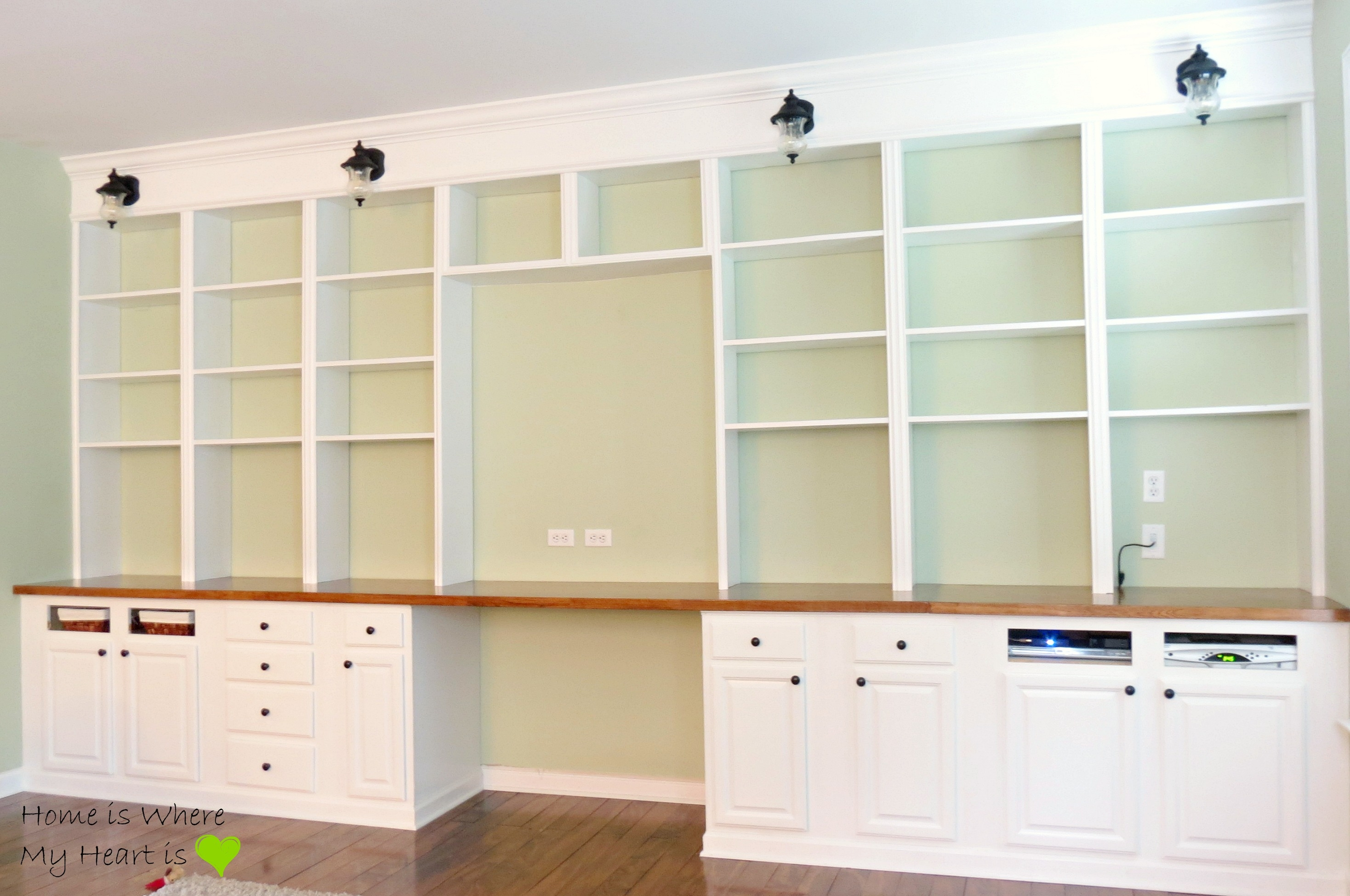 Remodelaholic Build A Wall To Wall Built In Desk And Bookcase Regarding Large Cupboard With Shelves (Image 22 of 25)