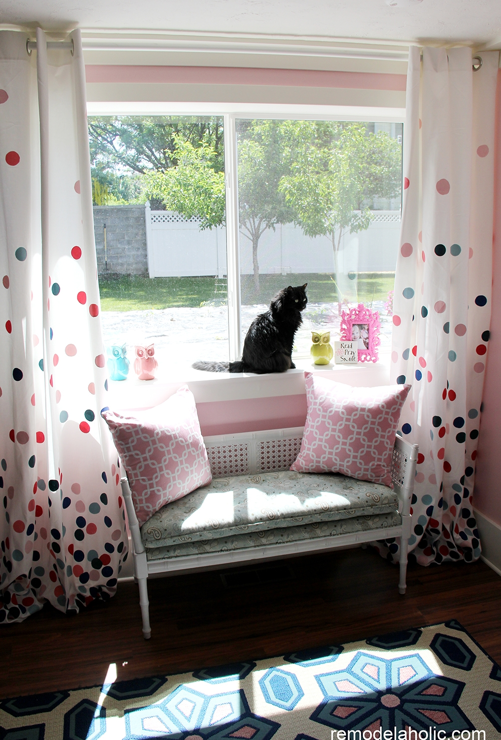 Remodelaholic Confetti Drapes Tutorial Pertaining To Navy And White Polka Dot Curtains (Image 22 of 25)