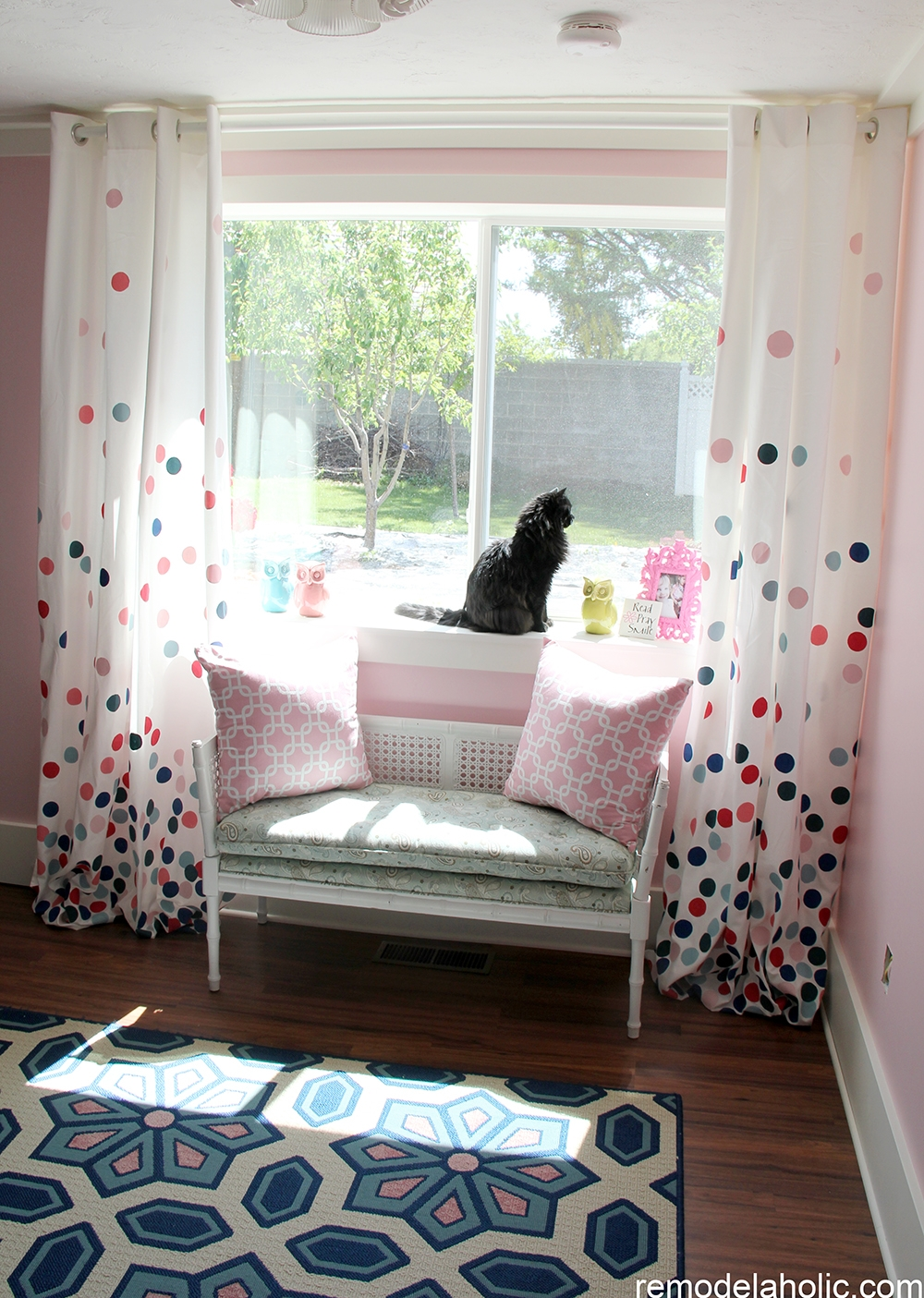 Remodelaholic Confetti Drapes Tutorial With Regard To Navy And White Polka Dot Curtains (Image 23 of 25)