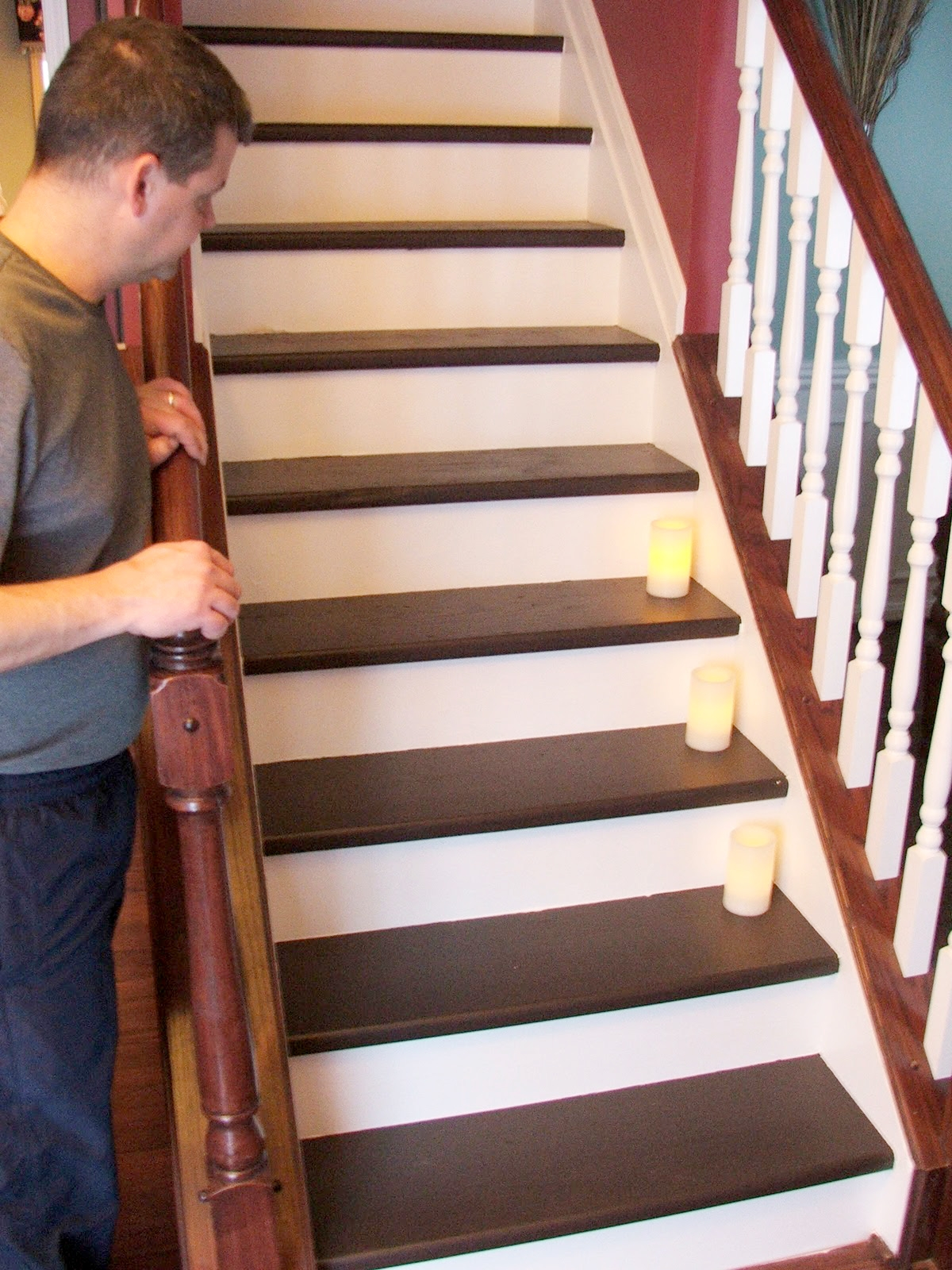Remodelaholic Under 100 Carpeted Stair To Wooden Tread Makeover Diy Regarding Carpet Treads For Wooden Stairs (Image 12 of 15)