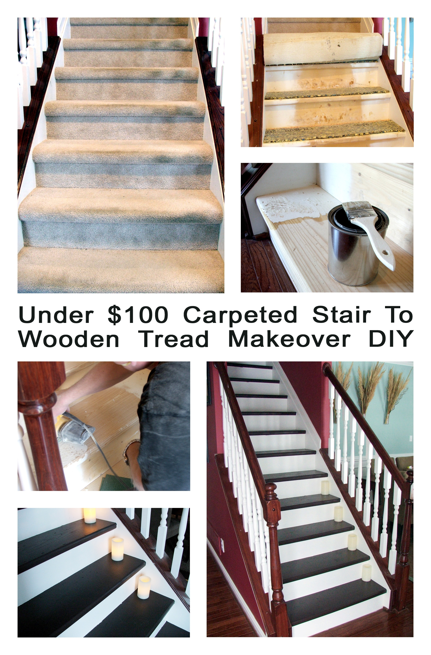 Remodelaholic Under 100 Carpeted Stair To Wooden Tread Makeover Diy Throughout Diy Stair Tread Rugs (View 4 of 15)