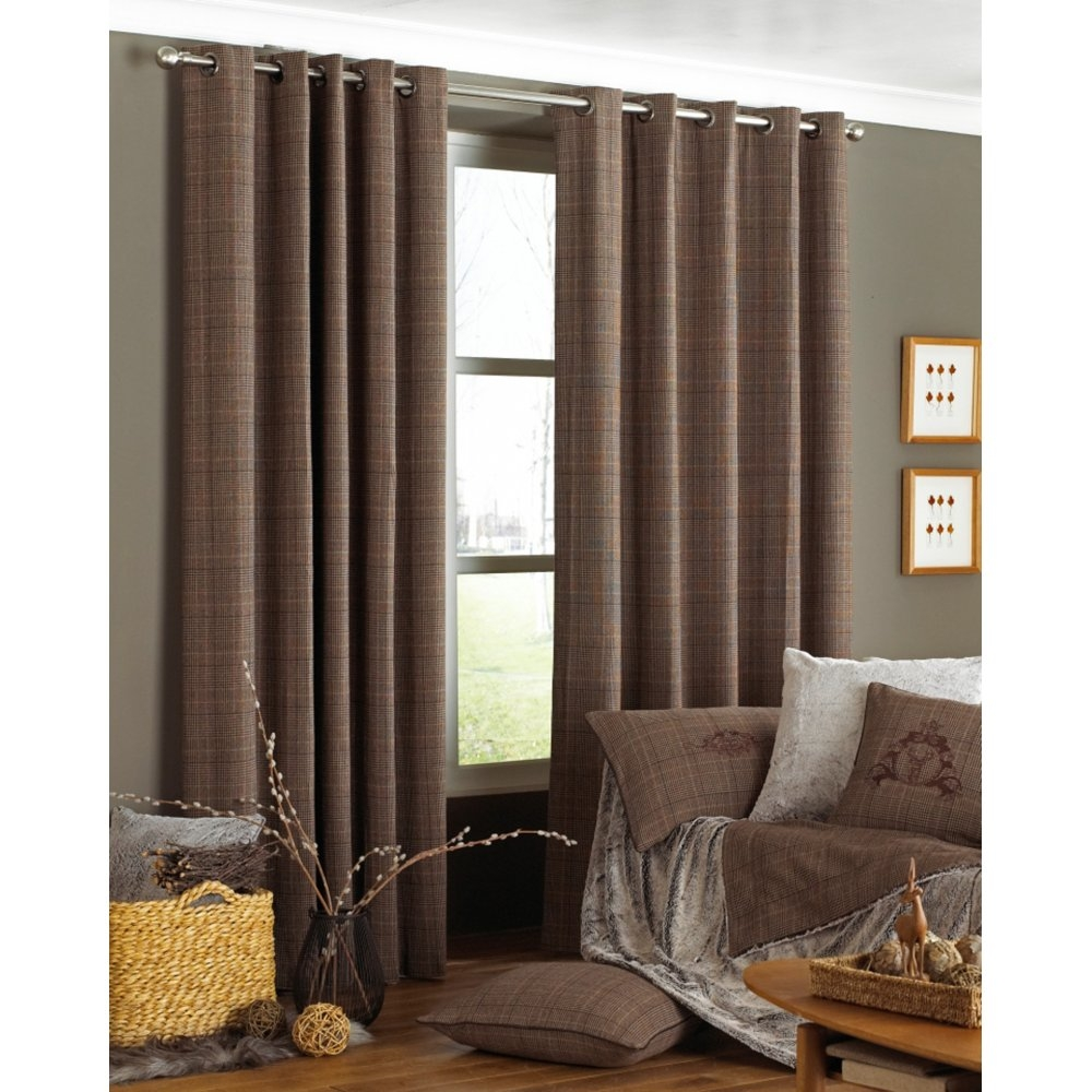 Riva Paoletti Courcheval Brown Tartan Check Readymade Eyelet Within Brown Eyelet Curtains (Image 20 of 25)