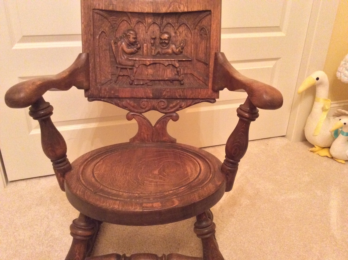 Rocking Chair With Monk Carving Collectors Weekly With Regard To Monk Chairs (Image 11 of 15)