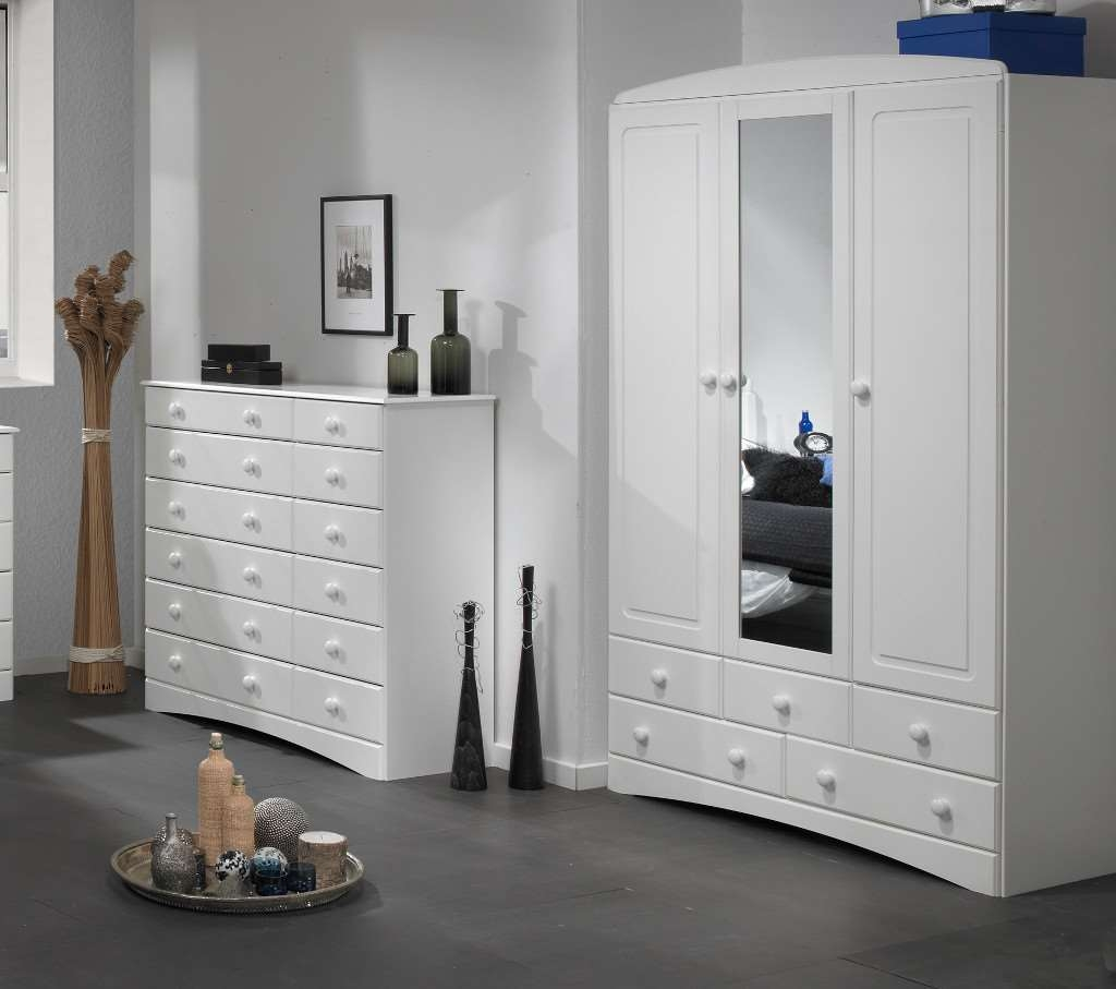 Room4 Scandi White 3 Door 5 Drawer Wardrobe With For 3 Door White Wardrobes (Image 16 of 25)