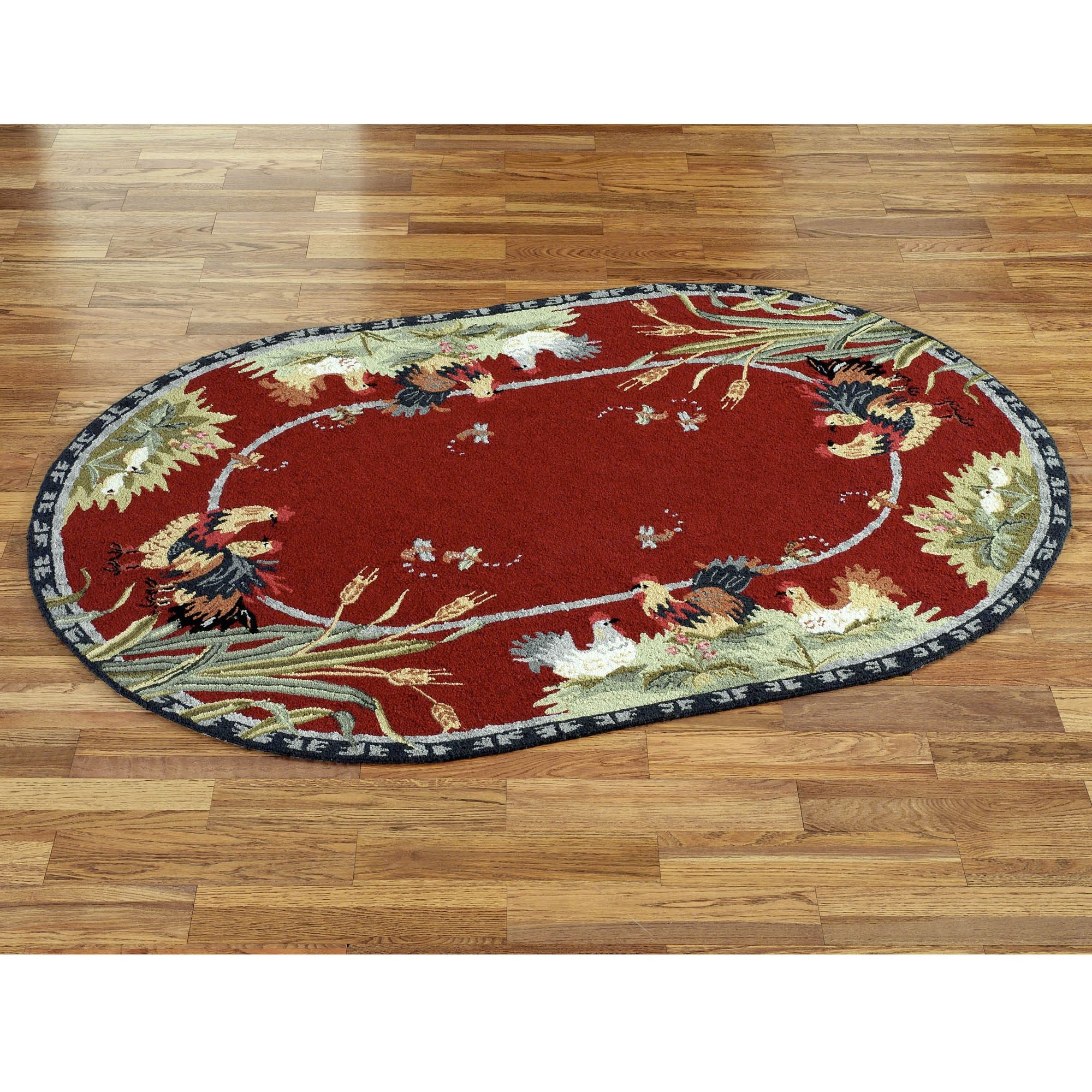 Rooster And Hens Oval Rugs Within Oval Rugs (Image 8 of 15)
