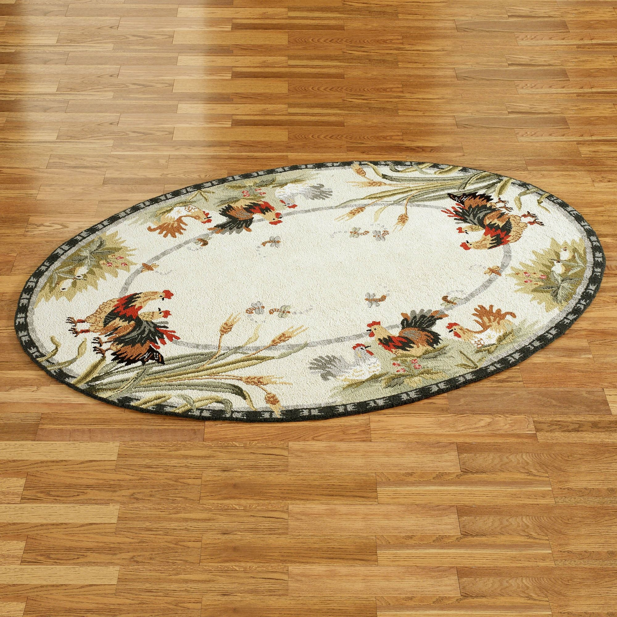 Rooster And Hens Oval Rugs Within Oval Rugs (Image 7 of 15)