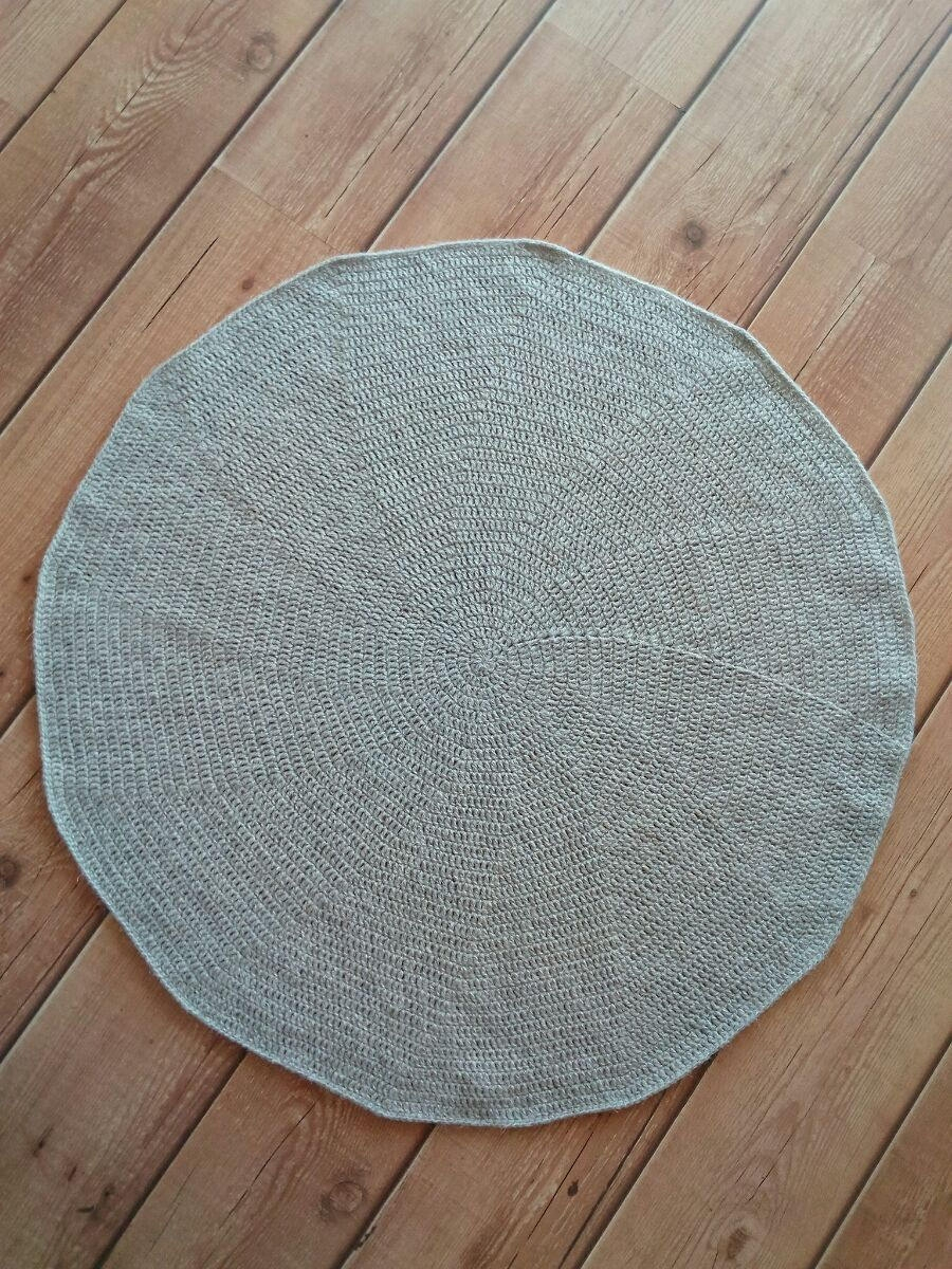 Round Crochet Rug Doily Rug Chunky Floor Rug Wool Rug Round With Round Wool Rugs (Image 12 of 15)