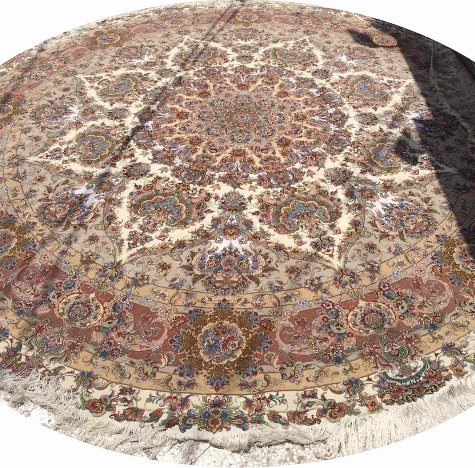 Round Oversize Khatibi Tabriz Rug Silk Persian Rug Item Ba 101 Pertaining To Round Persian Rugs (Image 12 of 15)